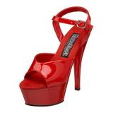 Rød Lakk 15 cm FUNTASMA JULIET-209 platå høye hæler sko