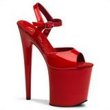 Rød Lakk 20 cm Pleaser FLAMINGO-809 platå høye hæler sko