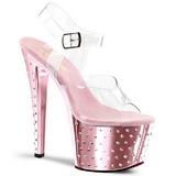 Rosa 18 cm Pleaser STARDUST-708 høye hæler krom platå