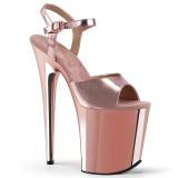 Rosa 20 cm Pleaser FLAMINGO-809 krom platå høye hæler sko