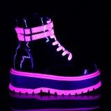 Rose neon 5 cm SLACKER-52 cyberpunk platform ankle boots