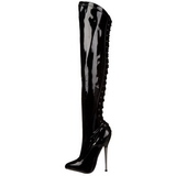 Shiny 16 cm DAGGER-3060 Overknees Boots Flat Heels