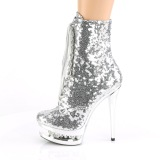 Silver 15,5 cm BLONDIE-R-1020 lace up platform ankle boots in sequins