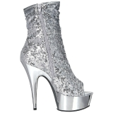 Silver 15 cm DELIGHT-1008SQ womens sequins ankle boots