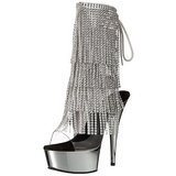 Silver 15 cm DELIGHT-1017RSF womens fringe ankle boots high heels