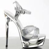Silver 16,5 cm Pleaser ECLIPSE-619G Platform Stiletto High Heels