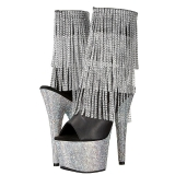 Silver 18 cm BEJEWELED-1024RSF-7 womens fringe ankle boots high heels