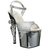 Silver 18 cm Pleaser REVOLVER-709G High Heels Chrome Platform