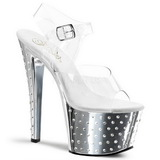 Silver 18 cm Pleaser STARDUST-708 High Heels Chrome Platform