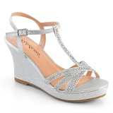 Silver 8 cm SILVIE-20 Women Wedge Sandals