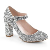 Silver 9 cm SABRINA-07 Pumps Shoes with Cuben Heels