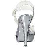 Silver Clear 13 cm COCKTAIL-508 Platform High Heeled Sandal