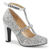 Silver Glitter 10 cm QUEEN-01 big size pumps shoes