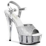 Silver Glitter 15 cm DELIGHT-609-5G High Heel Platform