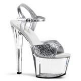 Silver Glitter 18 cm SKY-310 Platform High Heeled Sandal Shoes