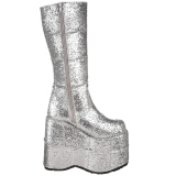 Silver Glitter 18 cm STACK-301G demonia boots - unisex cyberpunk boots