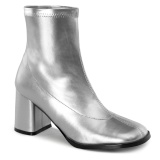 Silver Leatherette 7,5 cm GOGO-150 stretch block heels ankle boots