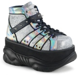 Silver Leatherette 7,5 cm NEPTUNE-100 Platform Mens Gothic Shoes