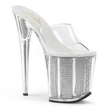 Silver Rhinestone 20 cm FLAMINGO-801SRS womens mules shoes