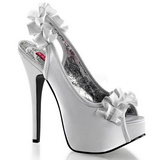 Silver Satin 14,5 cm Burlesque TEEZE-56 Platform High Heeled Sandal Shoes