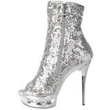 Silver Sequins 15,5 cm BLONDIE-R-1008 Platform Ankle Calf Boots