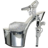 Sølv 18 cm Pleaser REVOLVER-709G høye hæler krom platå