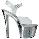 Sølv 18 cm Pleaser STARDUST-708 høye hæler krom platå