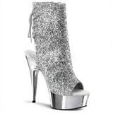 Sølv Glitter 15 cm Pleaser DELIGHT-1018G platå ankel høye støvler