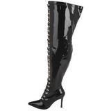 Svart 13 cm DOMINATRIX-3024X overknee støvler brede lægge
