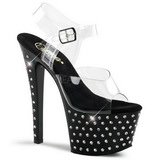 Svart 18 cm Pleaser STARDUST-708 høye hæler platå
