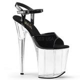 Svart Gjennomsiktig 20 cm Pleaser FLAMINGO-809 platå høye hæler sko