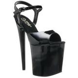 Svart Lakk 20 cm Pleaser FLAMINGO-809 platå høye hæler sko