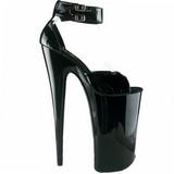 Svart Lakk 25,5 cm Pleaser BEYOND-089 platå høye hæler sko