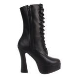 Svart Matt 13 cm Pleaser ELECTRA-1020 platå ankel høye støvler