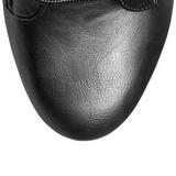 Svart imitert skinn 15,5 cm DELIGHT-1020 platå ankel høye støvler