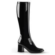 Svarte lakkstøvler blokkhæl 7,5 cm - 70 tallet støvler hippie disco gogo - knehøye boots