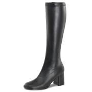 Svarte vinyl støvler blokkhæl 7,5 cm - 70 tallet hippie disco gogo - knehøye boots