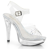 Transparent 13 cm COCKTAIL-508SD rhinestone platform high heels