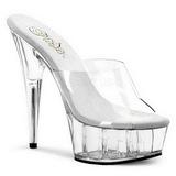 Transparent 15,5 cm Pleaser DELIGHT-601 Platform Mules Shoes