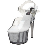 Transparent 18 cm ADORE-708G High Heels Glitter Platform