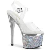 Transparent 18 cm ESTEEM-708CHLG platform pole dance high heel sandals silver