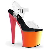 Transparent 19 cm RAINBOW-708UV High Heeled Sandal Neon Platform
