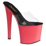 Transparent 19 cm TABOO-701UV Neon Platform Mules Shoes