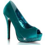 Turquoise Satin 13,5 cm BELLA-12R Rhinestone Platform Pumps Shoes