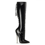 Varnished patent knee high boots 16 cm - pointed toe stiletto boots metal heel