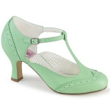 Vegan 7,5 cm FLAPPER-26 t-strap pumps retro vintage green