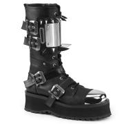 Vegan leather GRAVEDIGGER-250 demonia boots - unisex steel toe combat boots