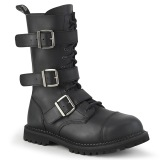 Vegan leather RIOT-12BK demonia boots - unisex steel toe combat boots