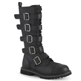 Vegan leather RIOT-18BK demonia boots - unisex steel toe combat boots