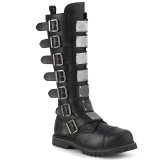 Vegan leather RIOT-21MP demonia boots - unisex steel toe combat boots